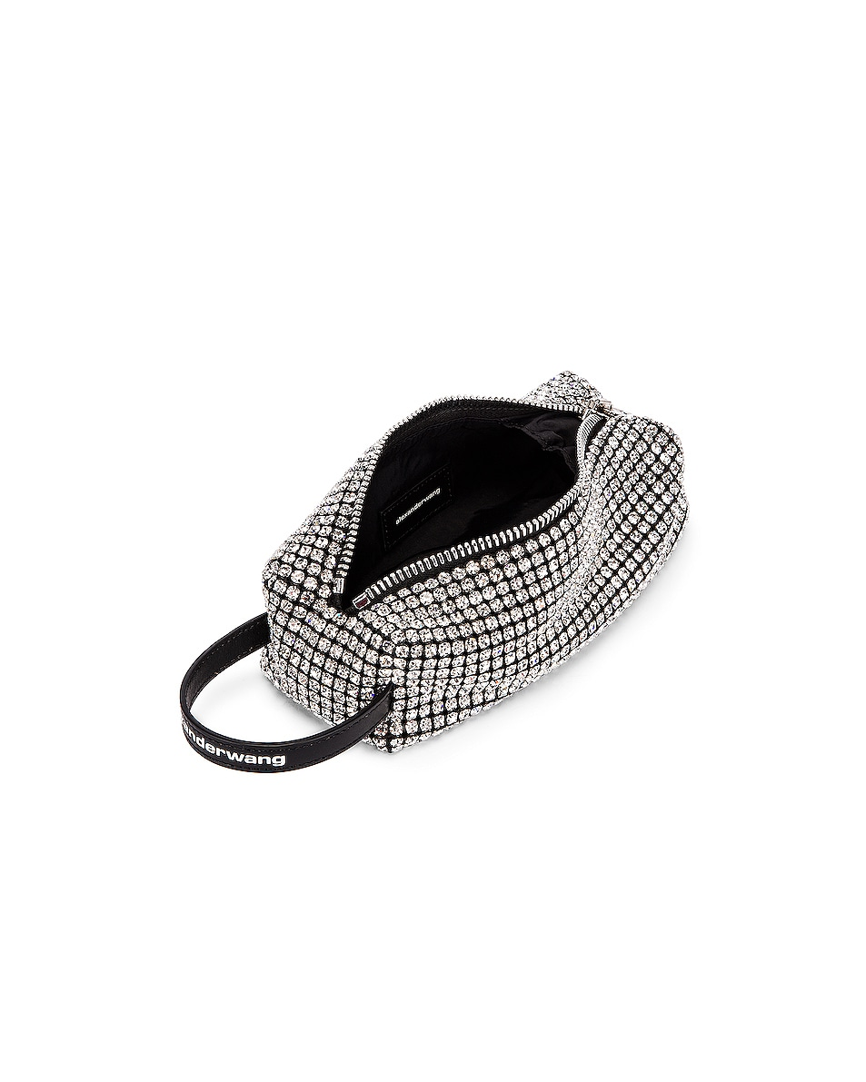 Image 5 of Alexander Wang Large Pouch Rhinestone Mesh Bag in White