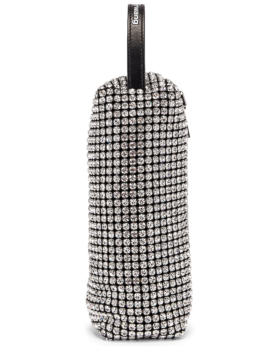 Image 6 of Alexander Wang Large Pouch Rhinestone Mesh Bag in White