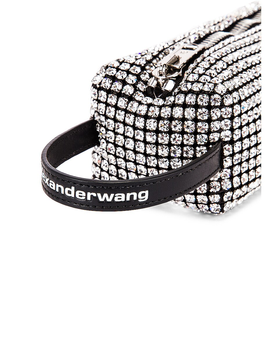 Image 8 of Alexander Wang Large Pouch Rhinestone Mesh Bag in White