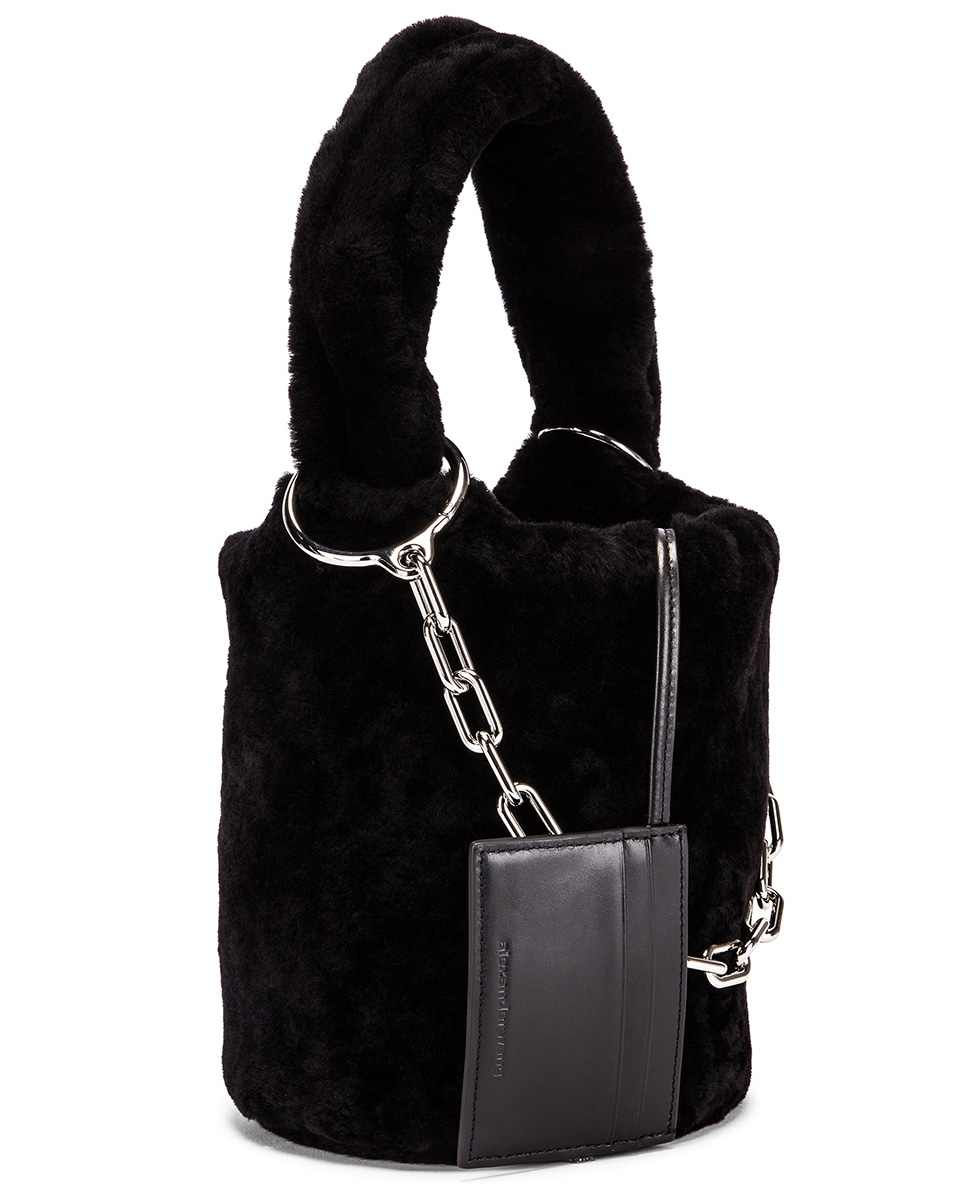 Image 4 of Alexander Wang Shearling Roxy Mini Bucket Bag in Black