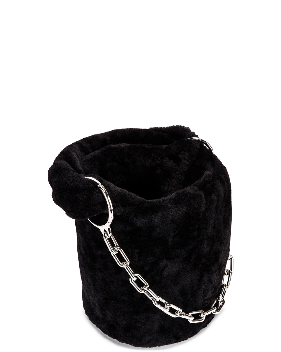 Image 5 of Alexander Wang Shearling Roxy Mini Bucket Bag in Black