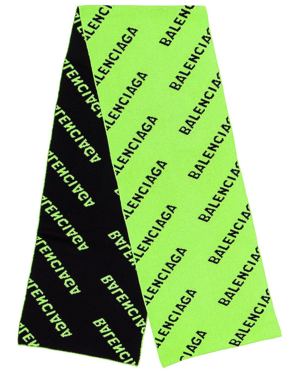 Image 1 of Balenciaga Logo All Over Knit Scarf in Acid Green & Black