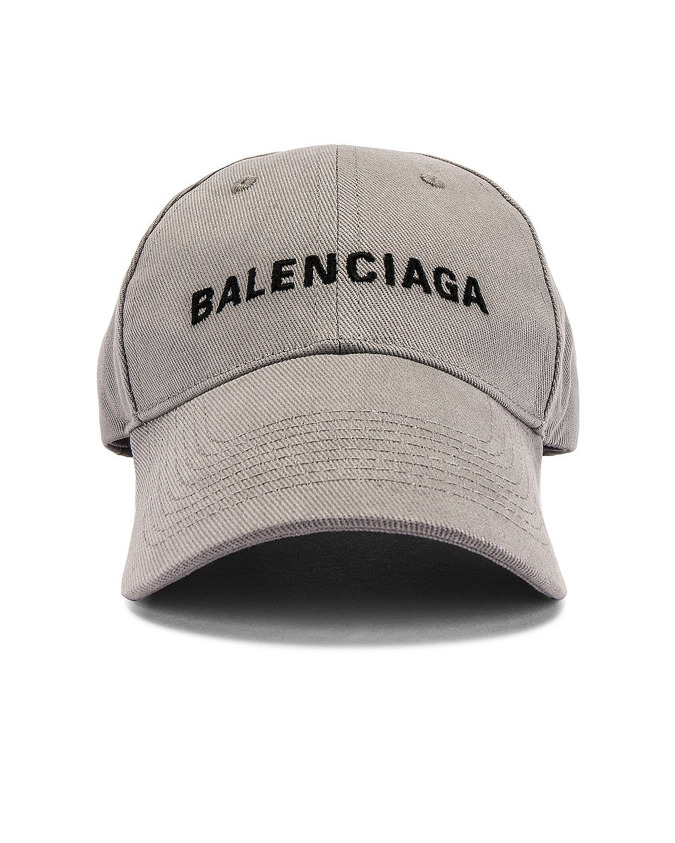 Image 1 of Balenciaga Logo Adjustable Cap in Lead & Black