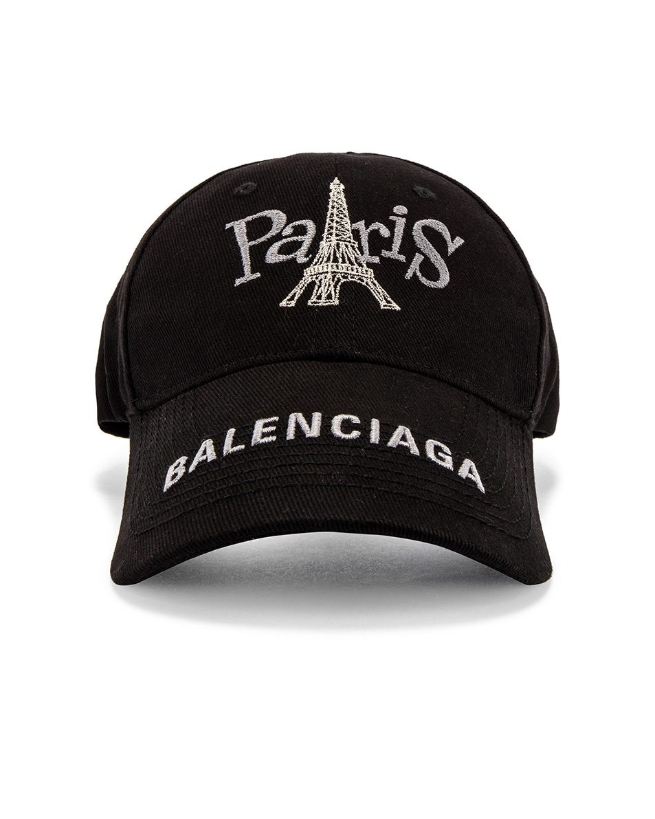 Image 1 of Balenciaga Paris Tower Adjustable Cap in Black