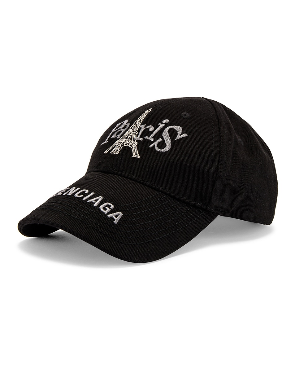 Image 2 of Balenciaga Paris Tower Adjustable Cap in Black
