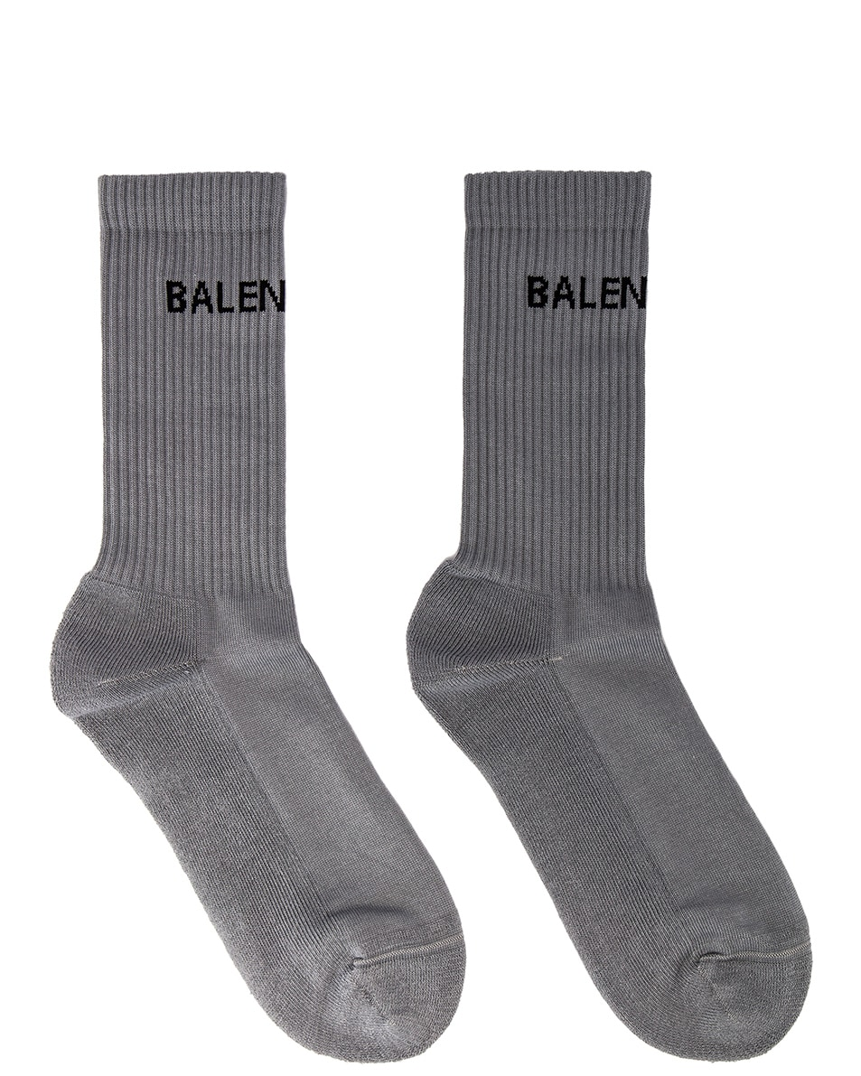 Image 1 of Balenciaga Tennis Socks in Lead & Black
