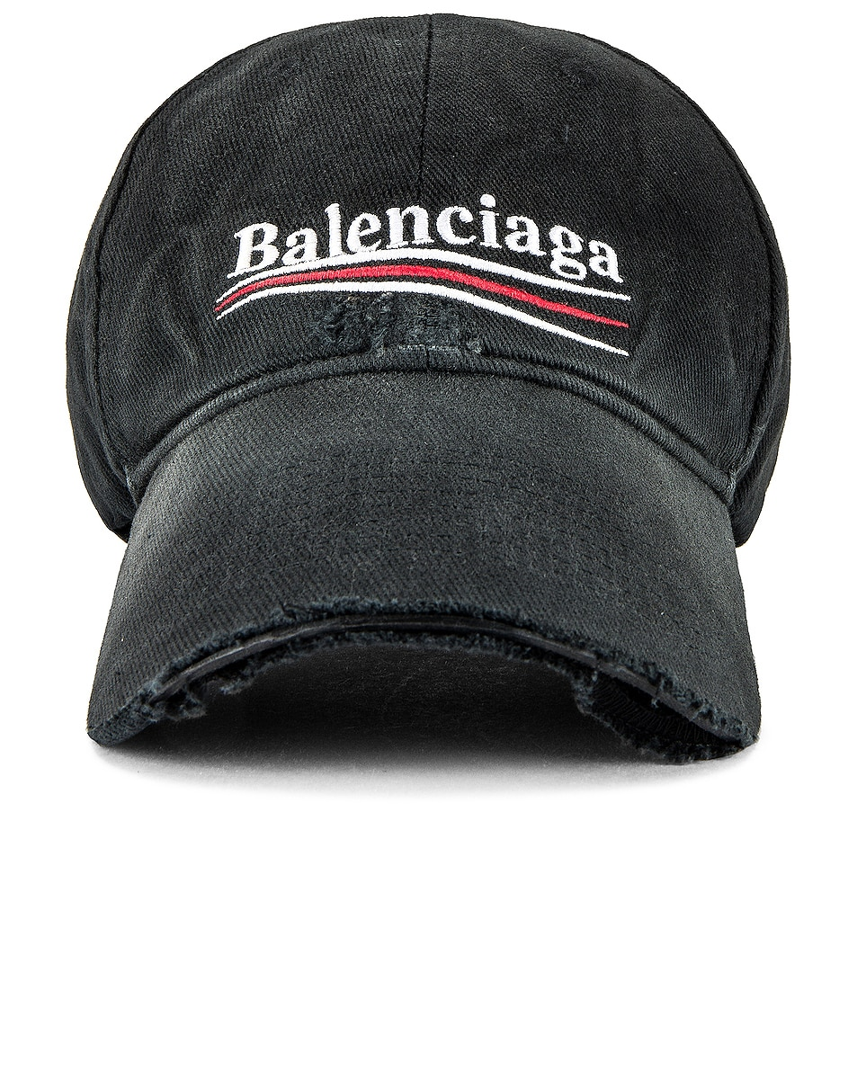 Image 1 of Balenciaga Hat Political Destroyed in Black & White