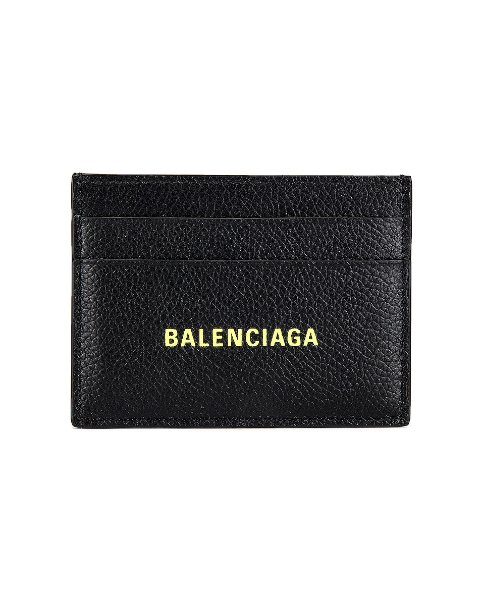 Image 1 of Balenciaga Cash Card Holder in Black & Fluo Yellow