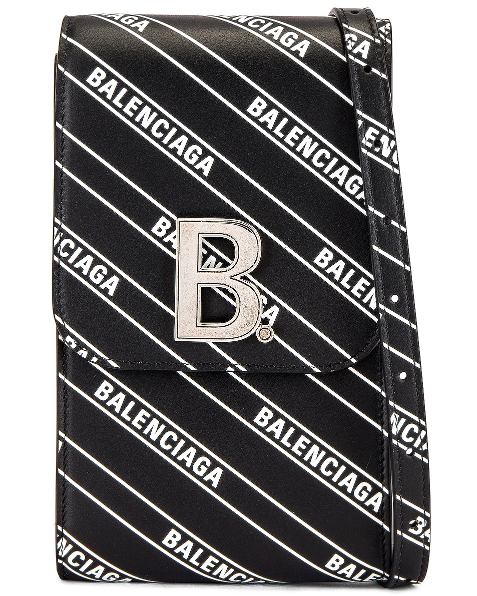 Image 1 of Balenciaga B Phone Holder in Black & White