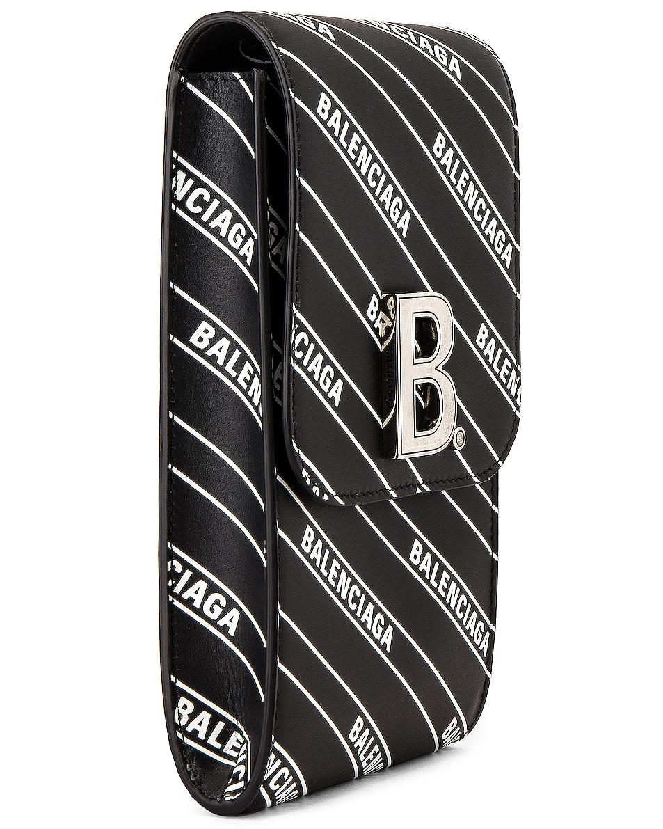 Image 3 of Balenciaga B Phone Holder in Black & White