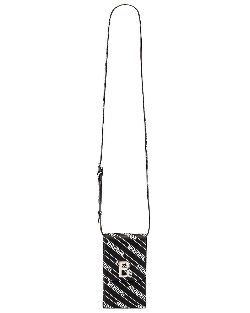 Image 5 of Balenciaga B Phone Holder in Black & White