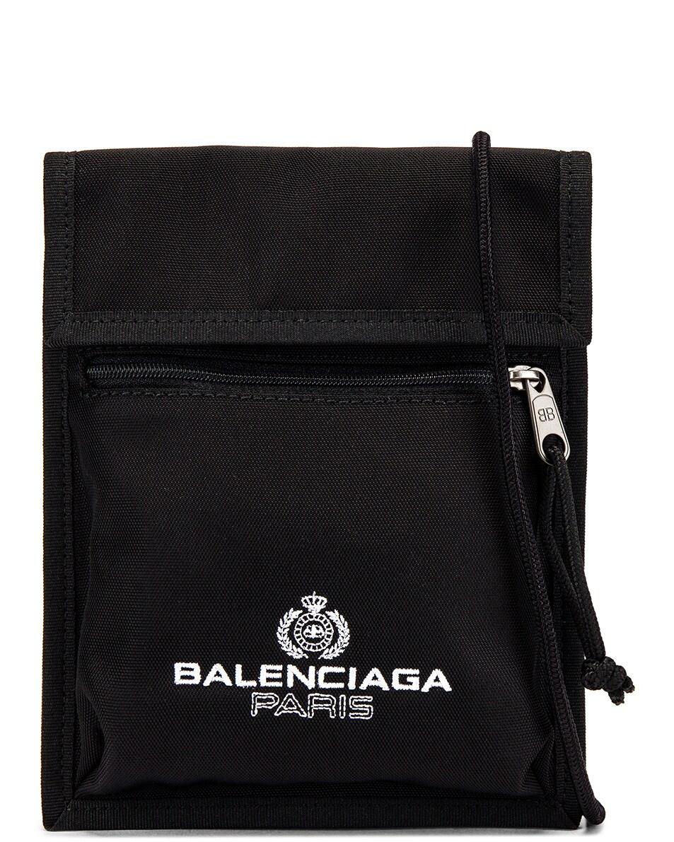 Image 1 of Balenciaga Paris Laurel Explorer Strap Pouch in Black