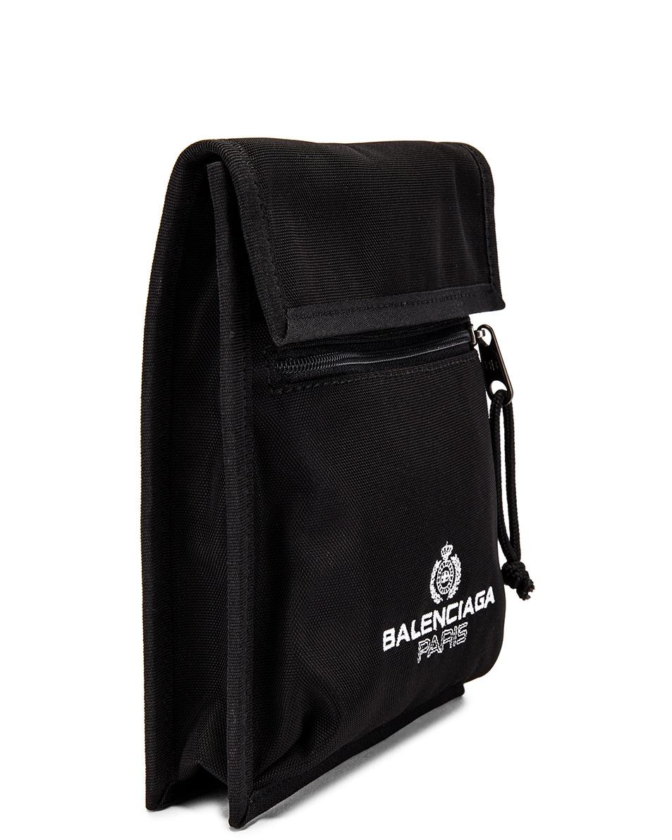 Image 3 of Balenciaga Paris Laurel Explorer Strap Pouch in Black
