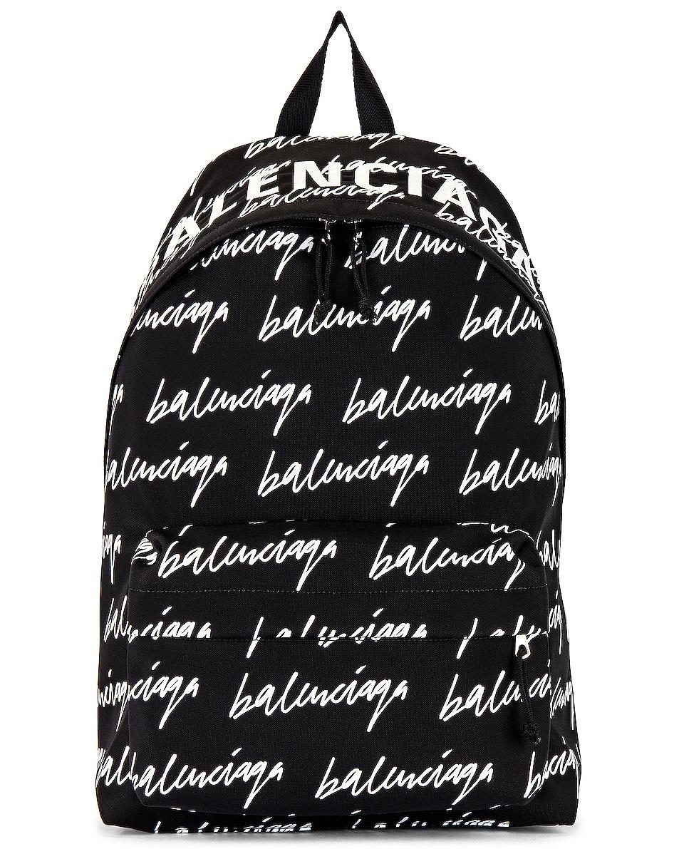 Image 1 of Balenciaga Scribble Logo Wheel Backpack in Black & White