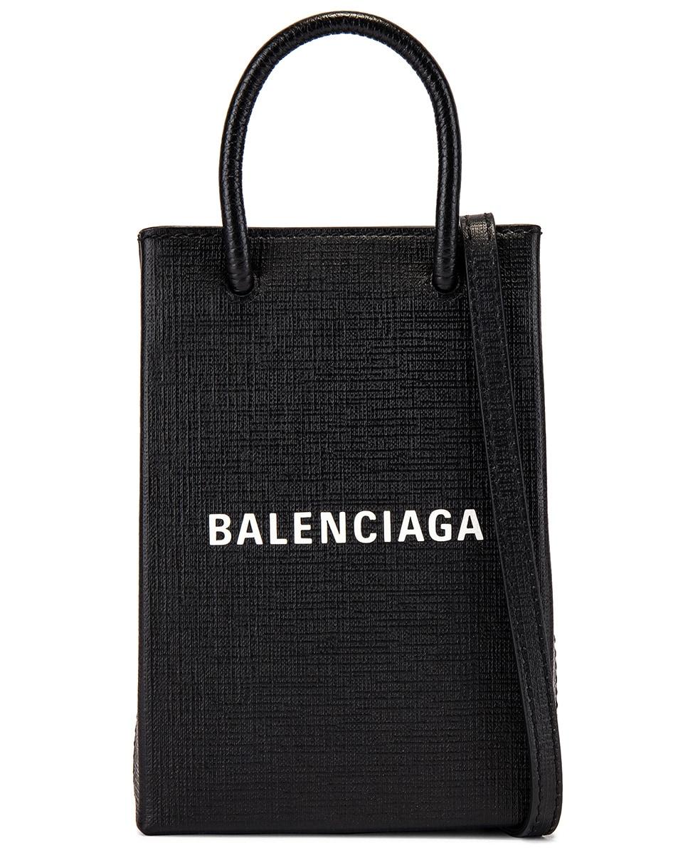 Image 1 of Balenciaga Phone Strap Shopping Bag in Black
