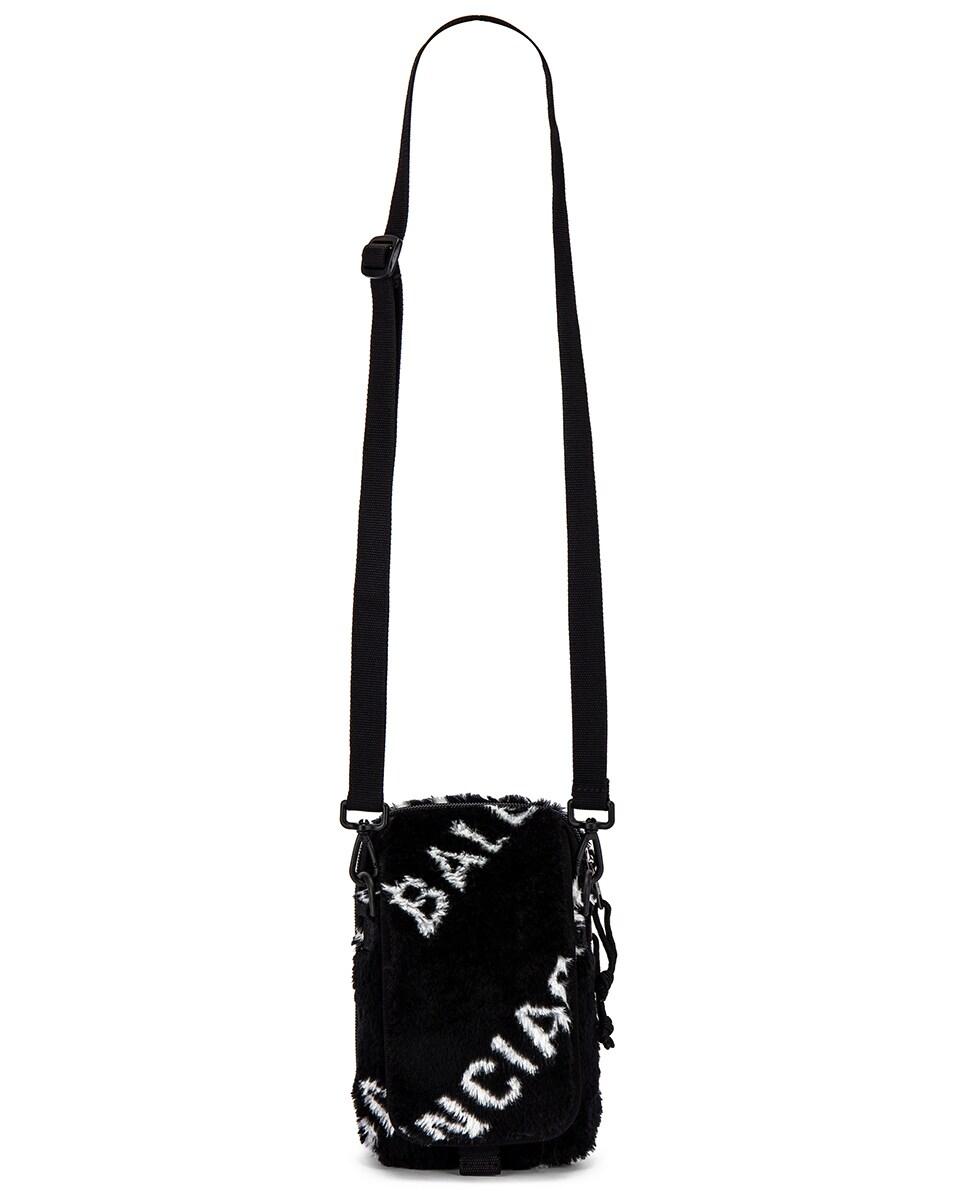 Image 6 of Balenciaga Logo Faux Fur Crossbody Pouch in Black & White