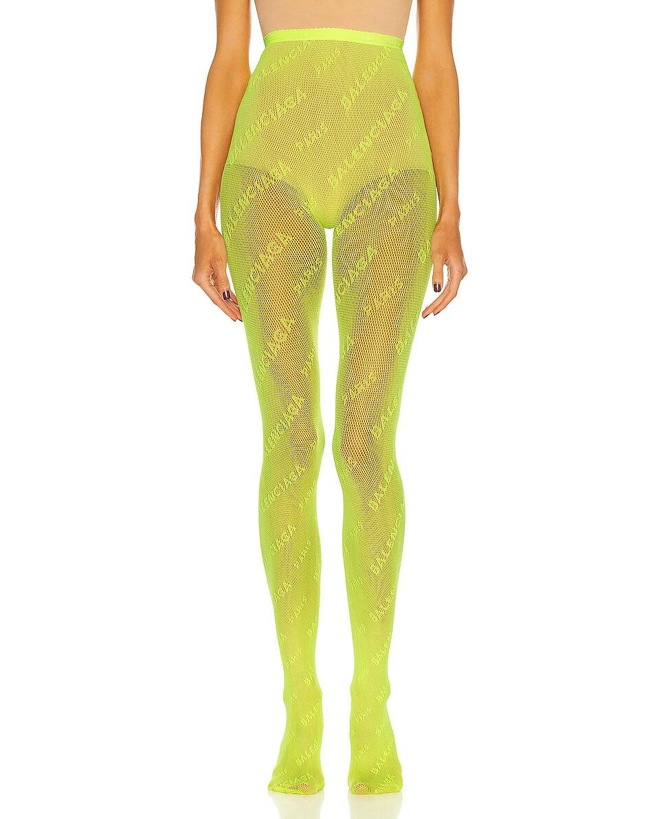 Image 1 of Balenciaga Mesh Tights in Lemon