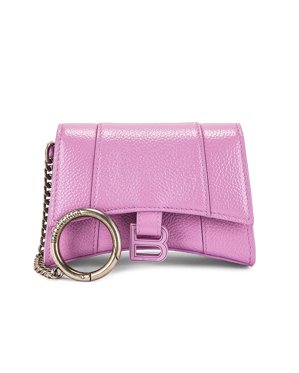 Image 1 of Balenciaga Hourglass Card Case Keychain in Lilac