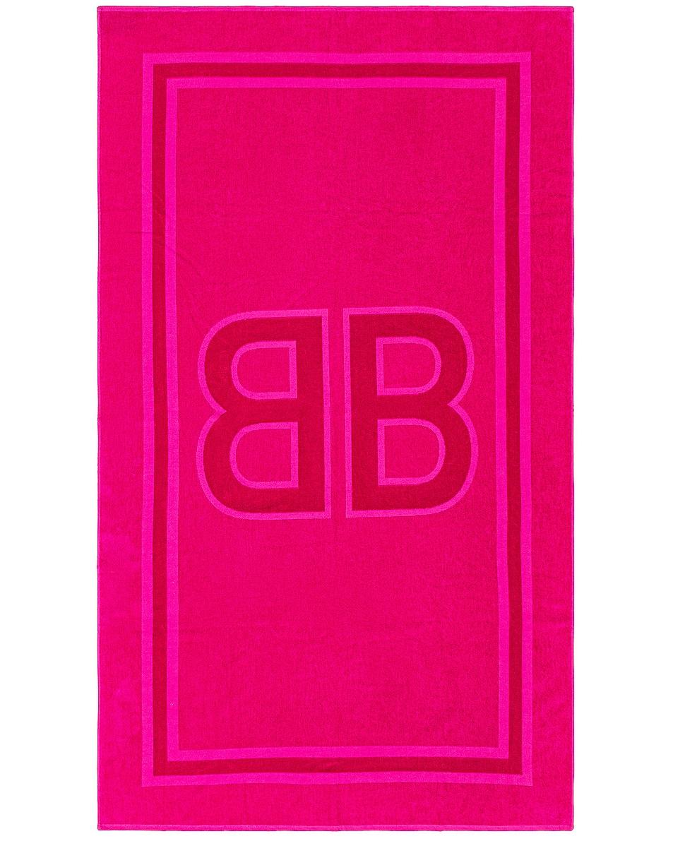 Image 1 of Balenciaga BB Beach Towel in Fuchsia