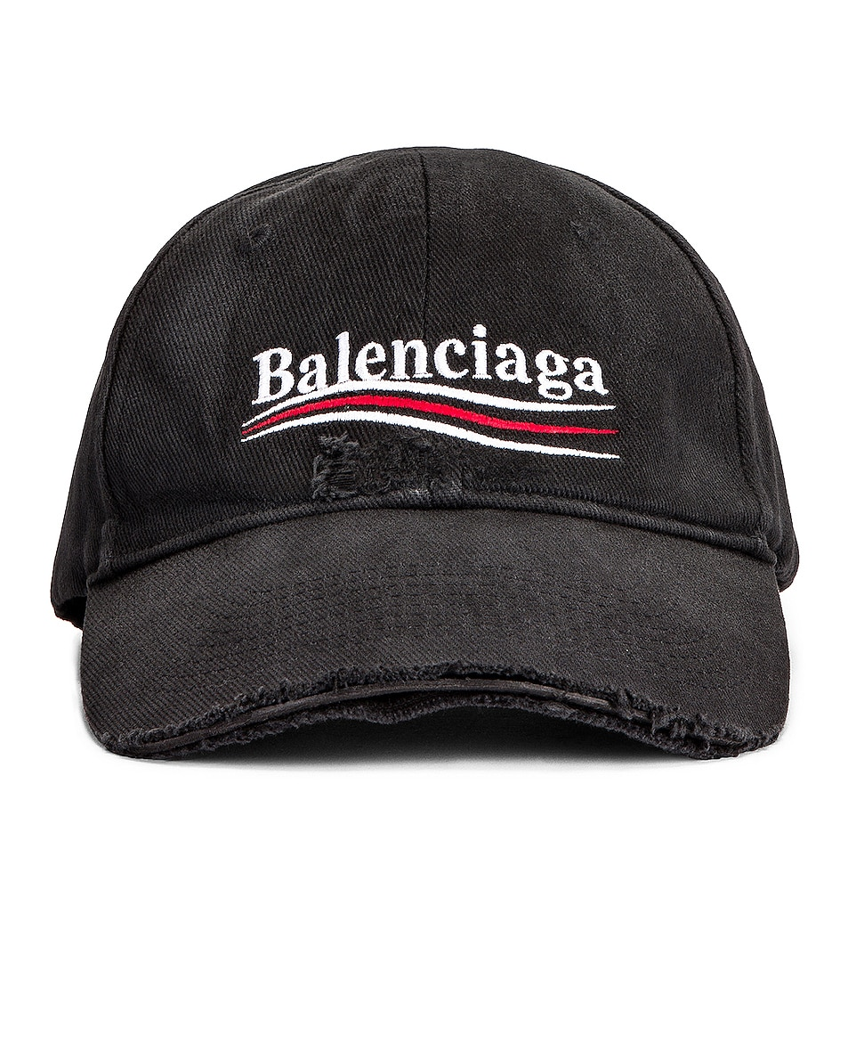 Image 1 of Balenciaga Political Destroyed Baseball Hat in Black & White