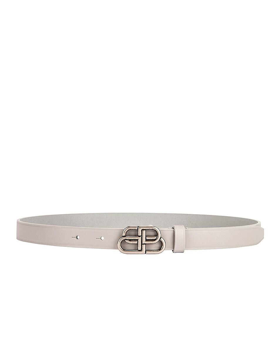 Image 1 of Balenciaga BB Extra Thin Belt in Light Grey