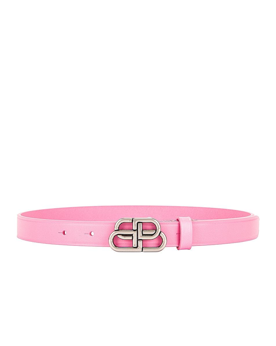 Image 1 of Balenciaga BB Extra Thin Belt in Rose