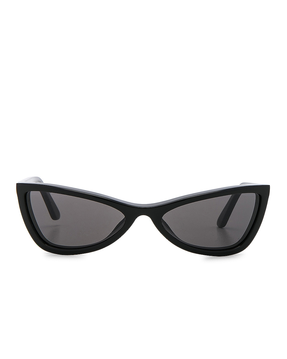 Image 1 of Balenciaga Slim Cateye Sunglasses in Shiny Black with Smokey Lense