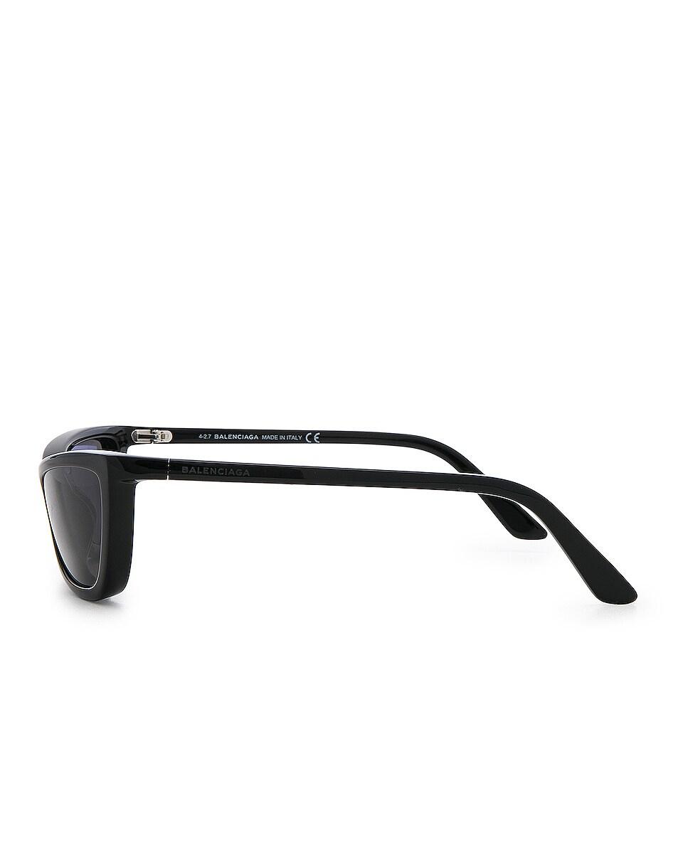 Image 3 of Balenciaga Slim Cateye Sunglasses in Shiny Black with Smokey Lense