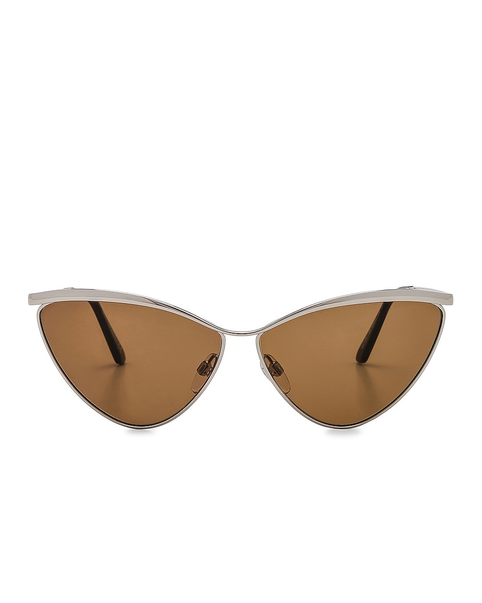 Image 1 of Balenciaga Cat Eye Sunglasses in Silver & Vintage Brown