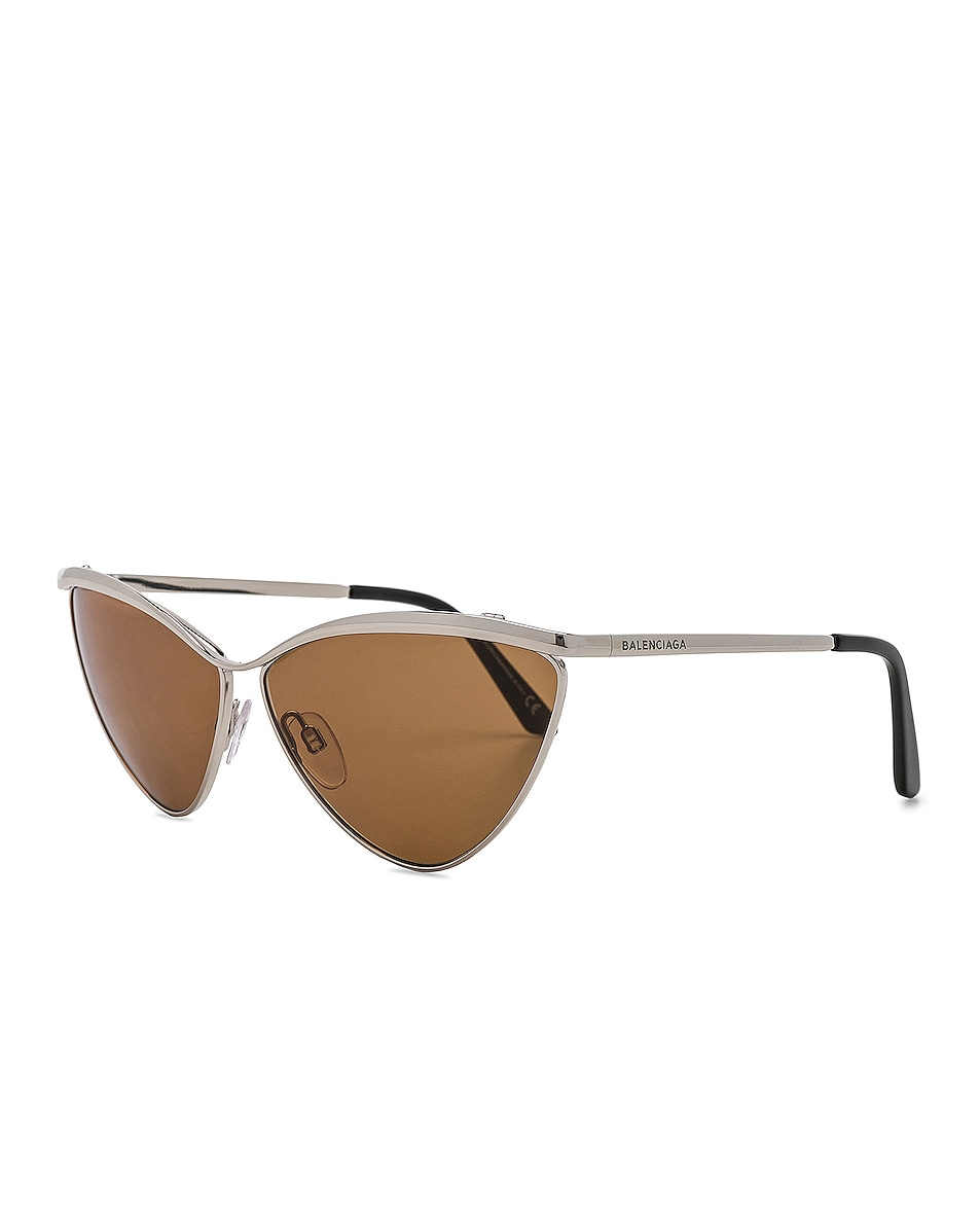 Image 2 of Balenciaga Cat Eye Sunglasses in Silver & Vintage Brown