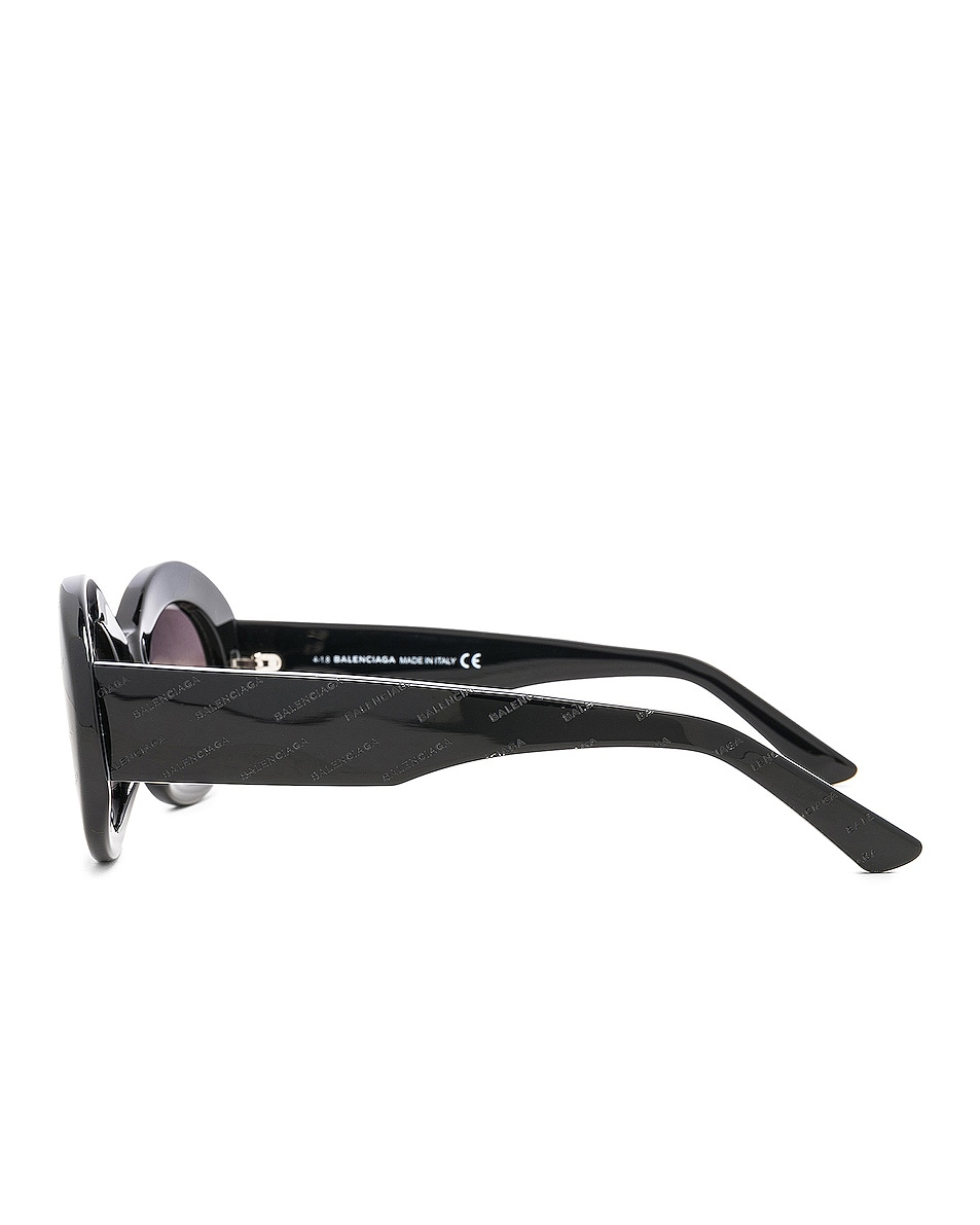 Image 3 of Balenciaga Oval Logomania Sunglasses in Black & Smoke