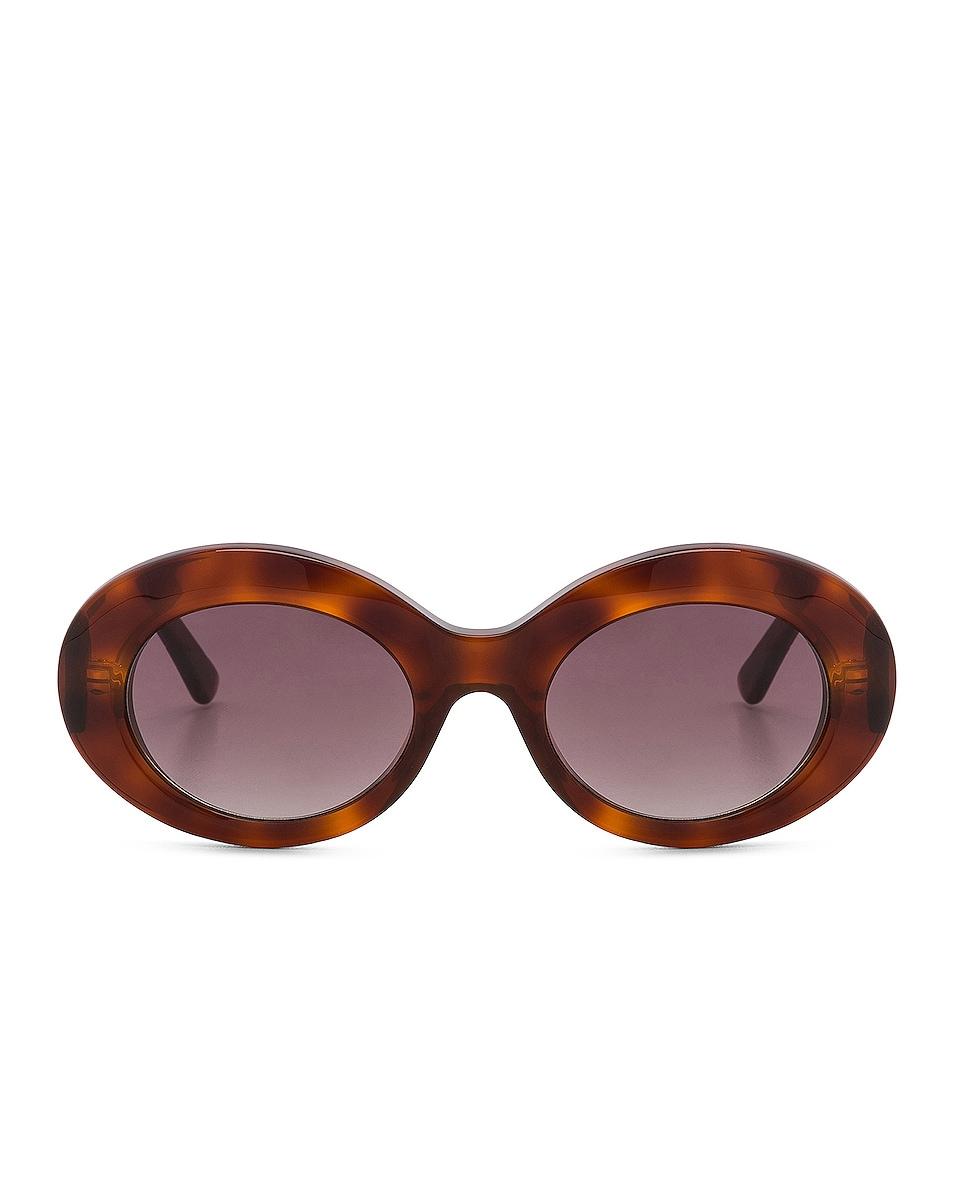Image 1 of Balenciaga Oval Sunglasses in Blonde Havana & Burgundy