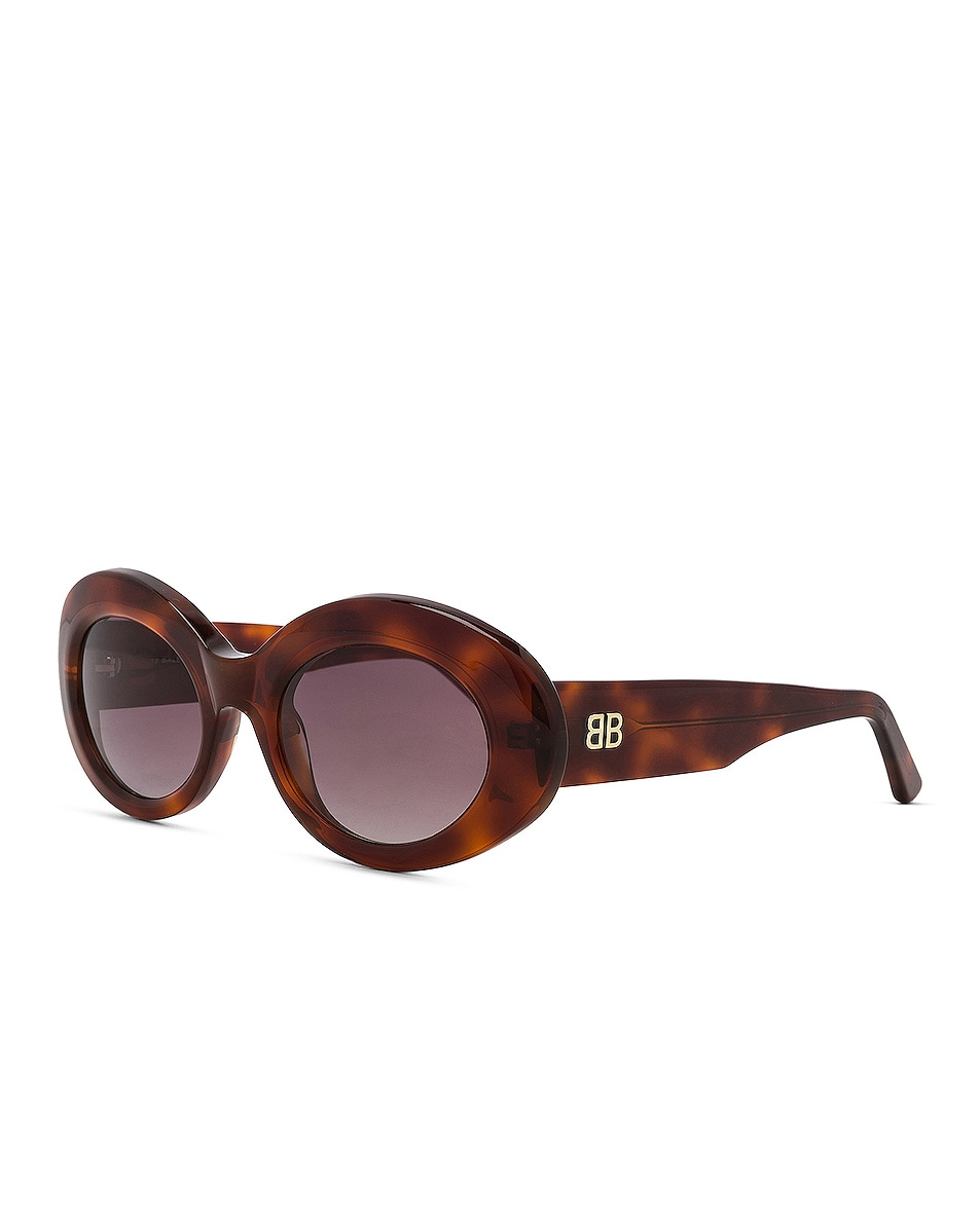 Image 2 of Balenciaga Oval Sunglasses in Blonde Havana & Burgundy