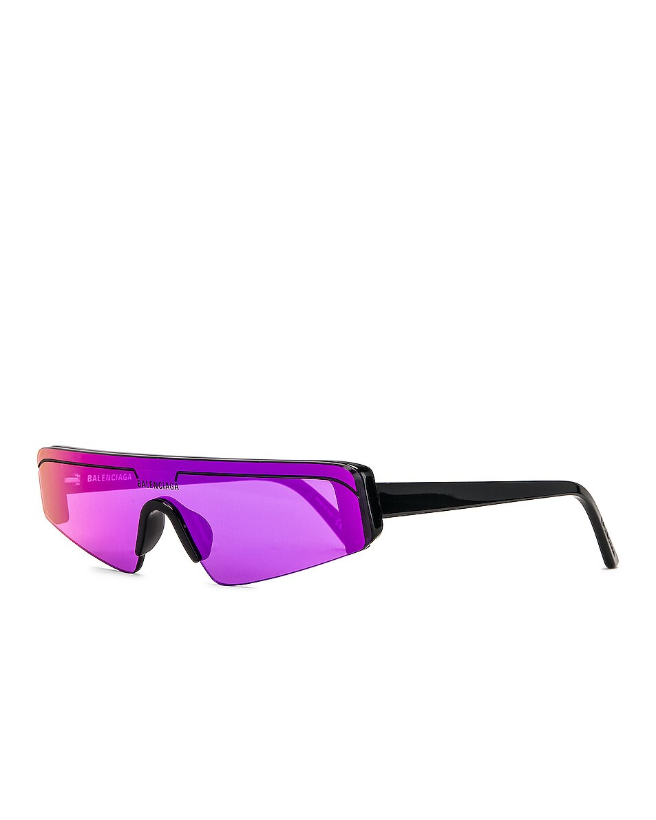 Image 2 of Balenciaga Sunglasses in Shiny Black & Violet