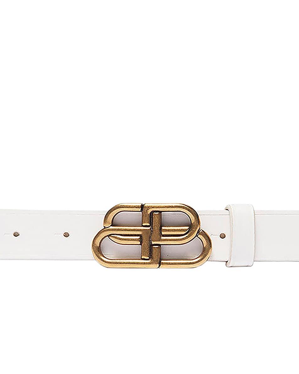 Image 1 of Balenciaga Thin BB Belt in White