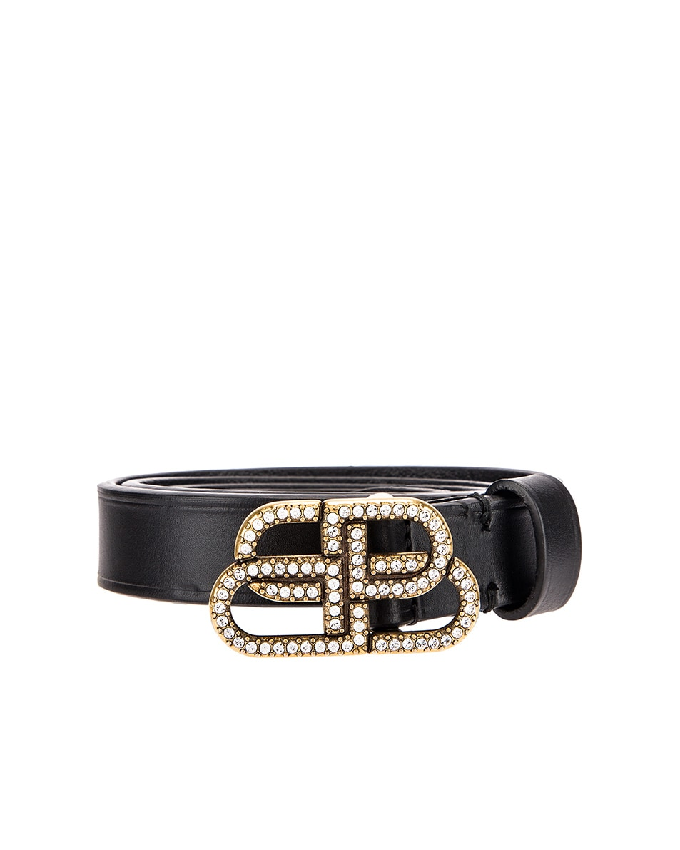Image 1 of Balenciaga BB Strass Belt in Black