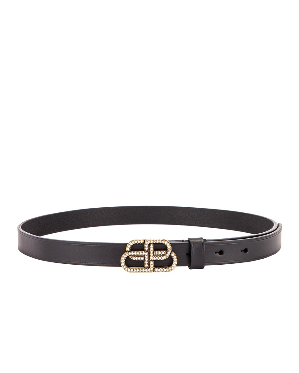 Image 2 of Balenciaga BB Strass Belt in Black