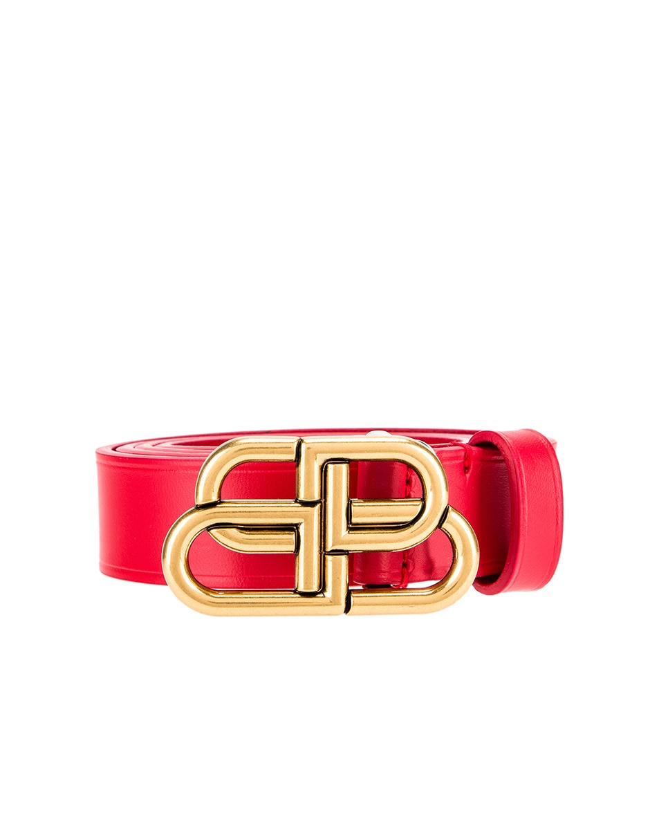 Image 1 of Balenciaga Thin BB Belt in Bright Red