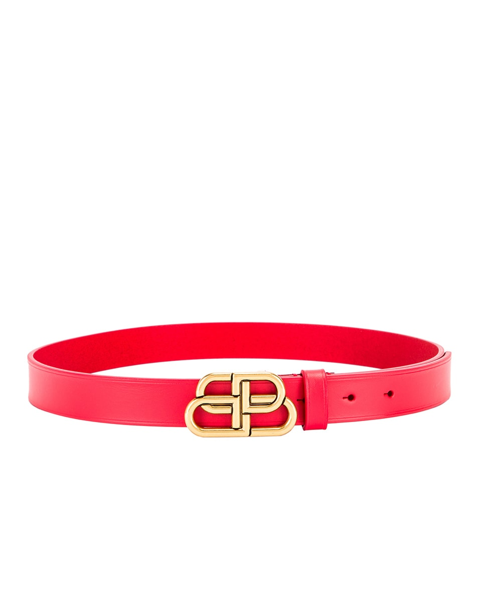 Image 2 of Balenciaga Thin BB Belt in Bright Red