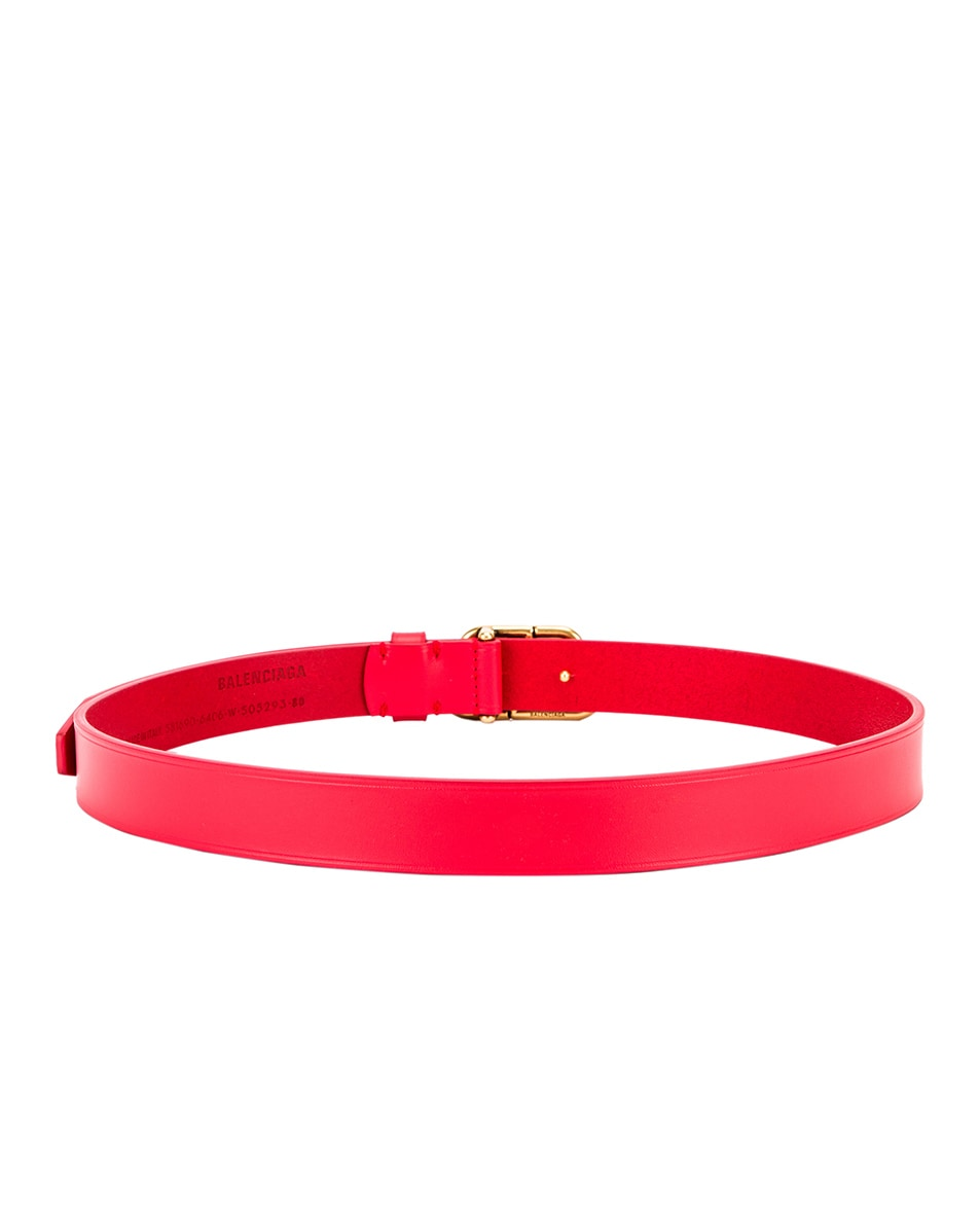 Image 3 of Balenciaga Thin BB Belt in Bright Red