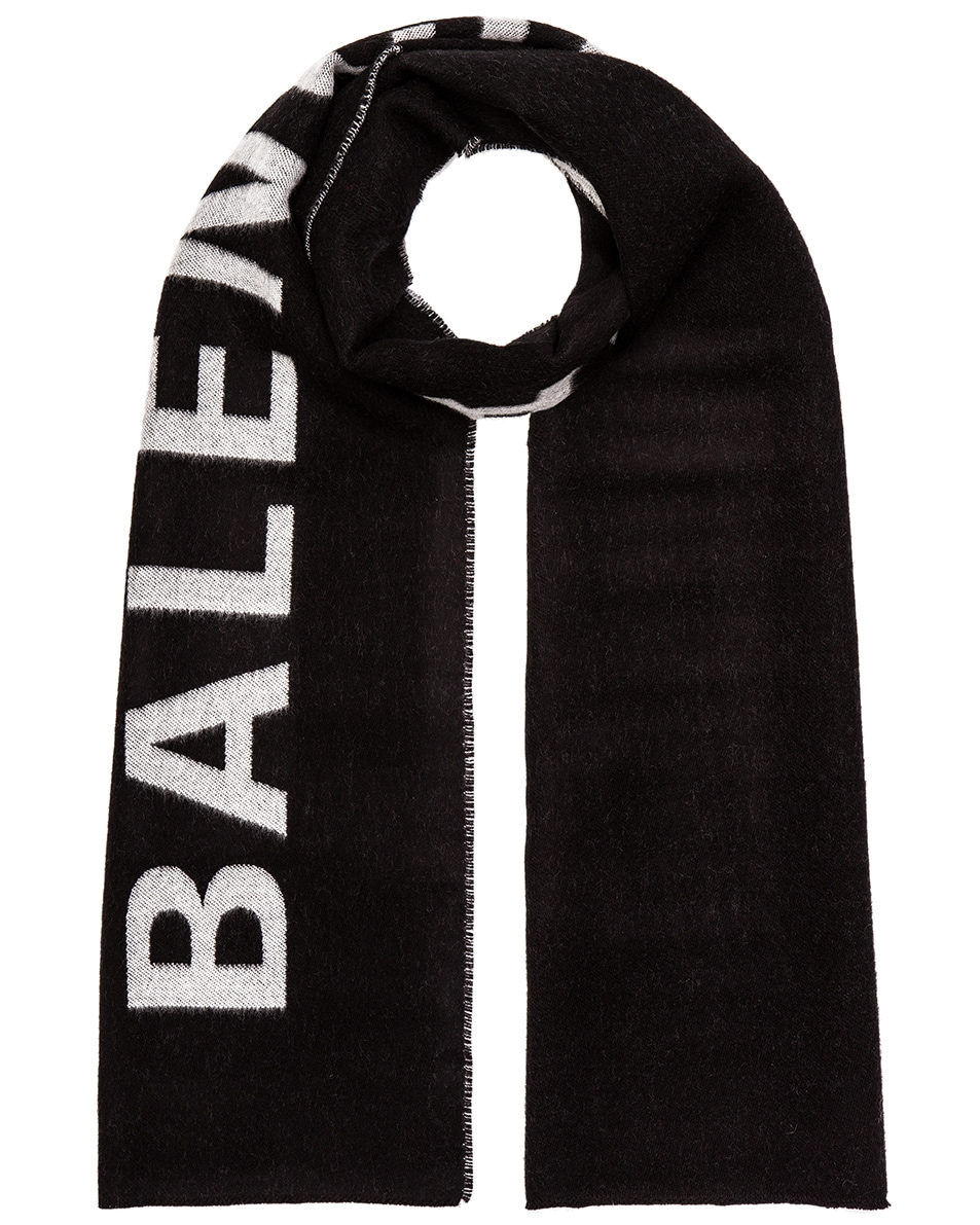 Image 1 of Balenciaga Logo Scarf in Black & White