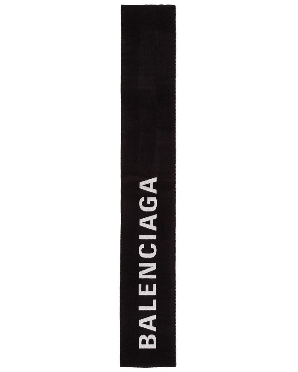 Image 2 of Balenciaga Logo Scarf in Black & White