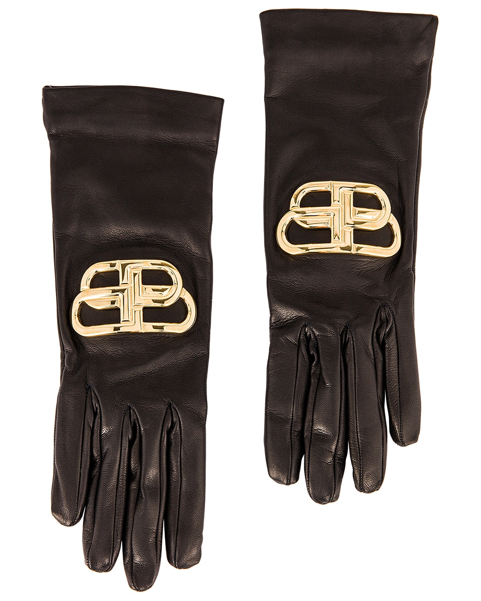 Image 1 of Balenciaga Giant BB Gloves in Black & Gold
