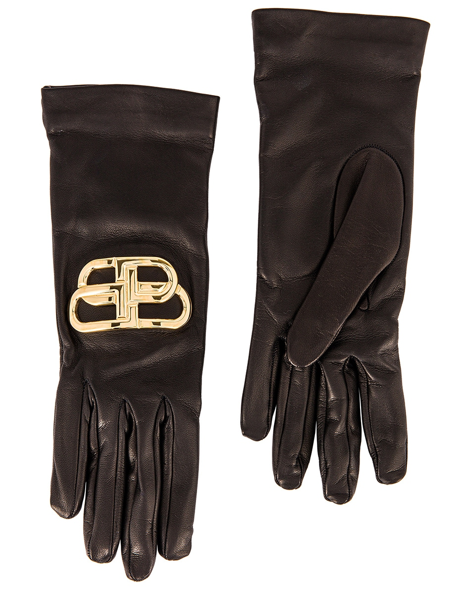 Image 2 of Balenciaga Giant BB Gloves in Black & Gold