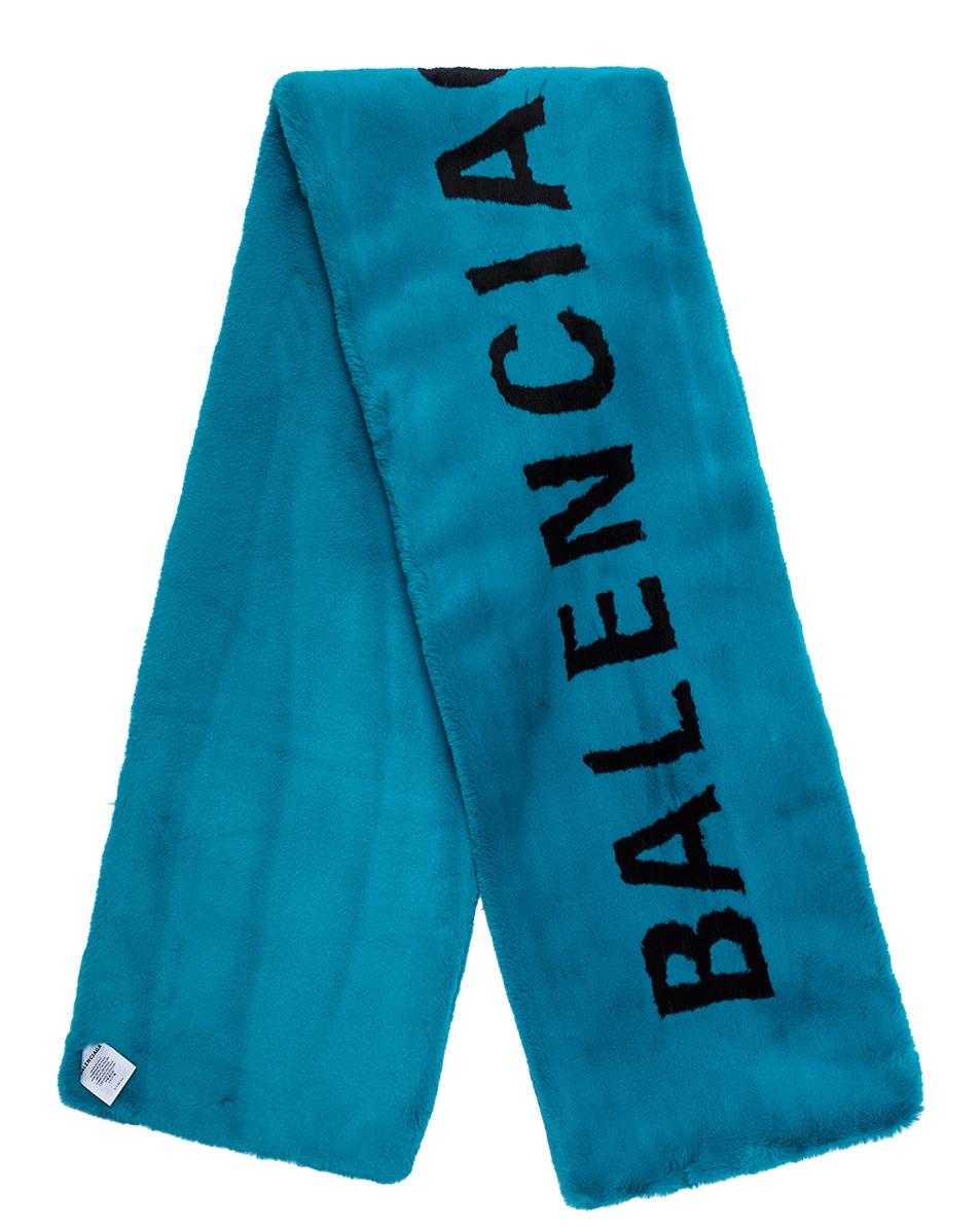 Image 1 of Balenciaga Classic Faux Fur Scarf in Petroleum Blue & Black