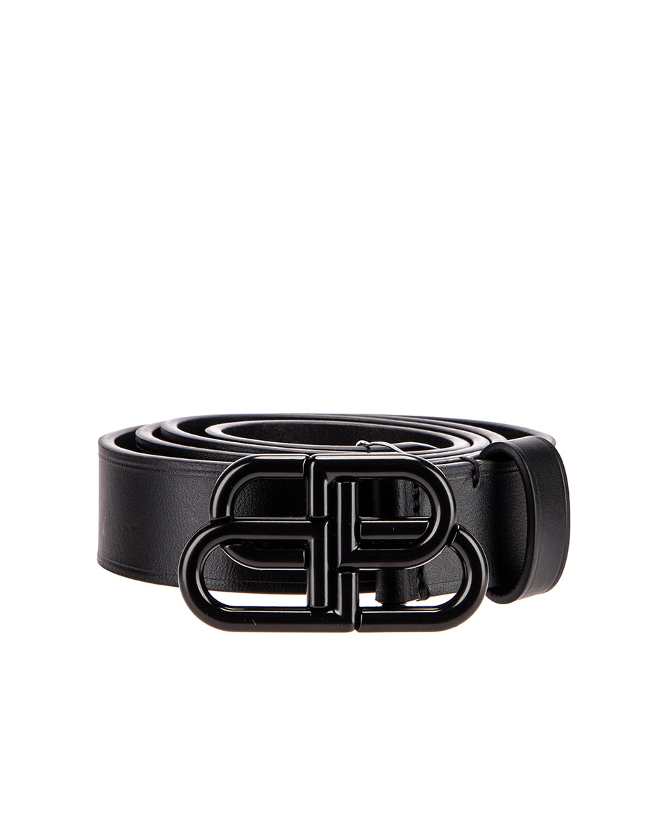 Image 1 of Balenciaga Thin BB Belt in Black