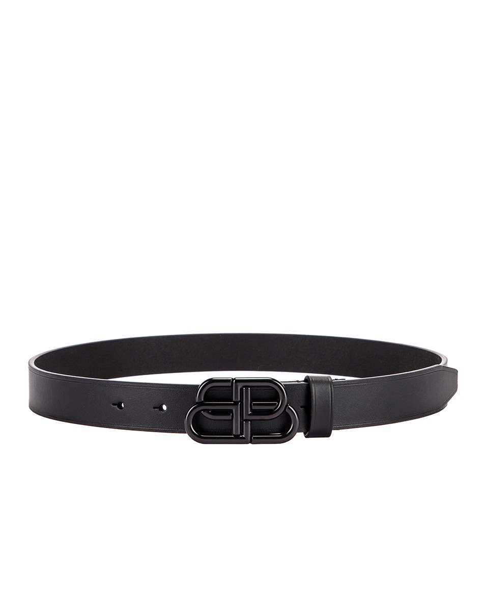 Image 2 of Balenciaga Thin BB Belt in Black