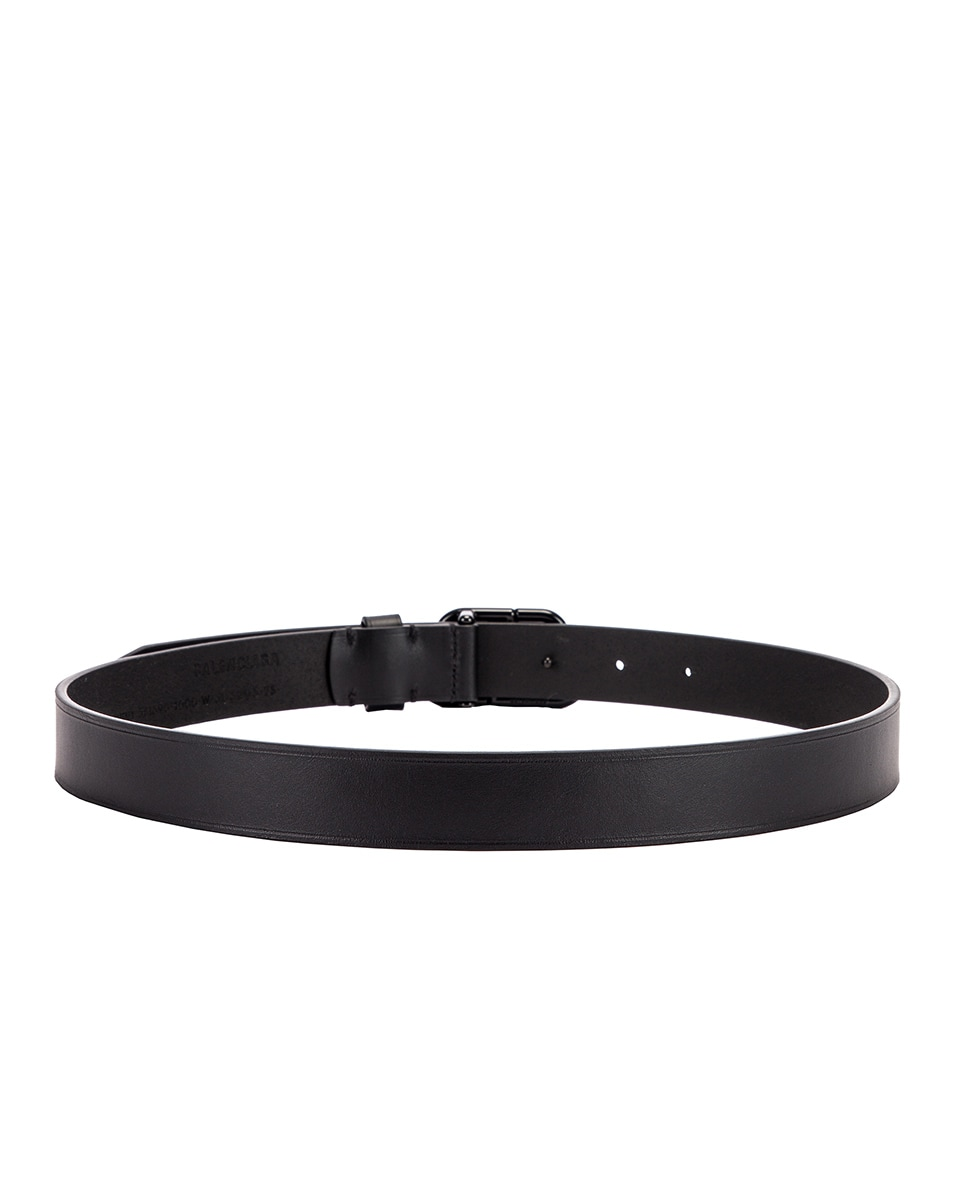 Image 3 of Balenciaga Thin BB Belt in Black