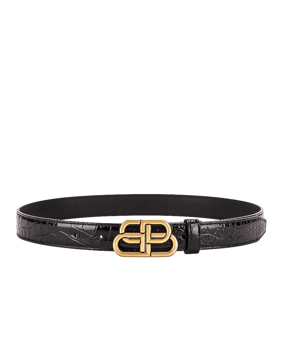 Image 1 of Balenciaga BB Embossed Croc Thin Belt in Black