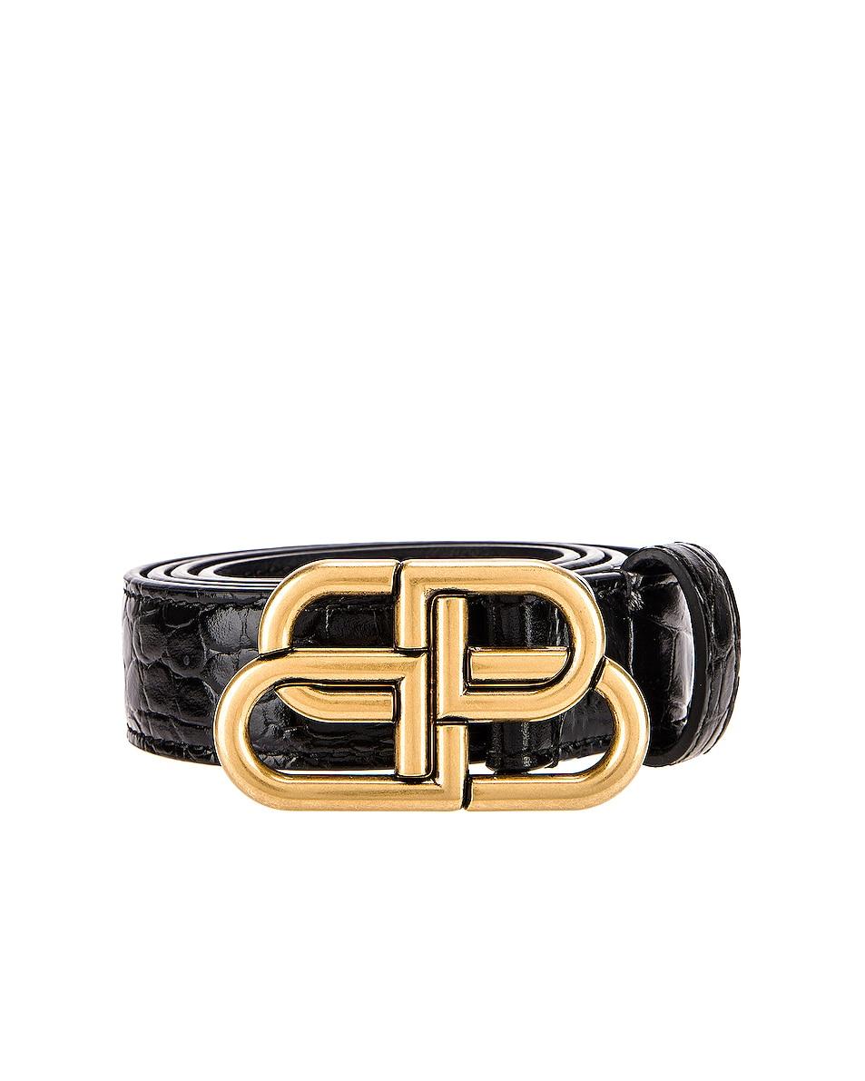 Image 3 of Balenciaga Thin BB Belt in Black